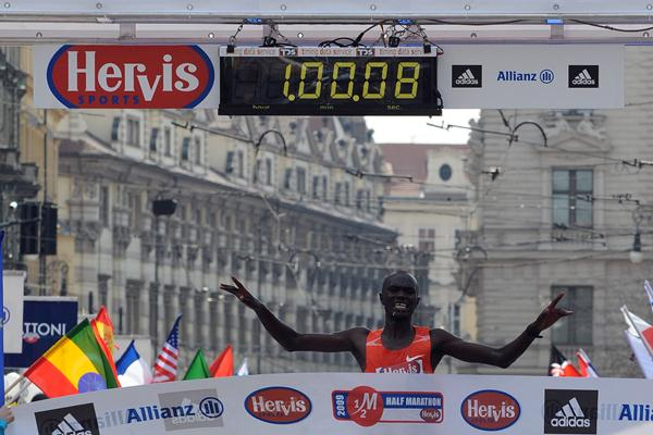 Nicholas Kipruto Koech after his course record in Prague (organisers)