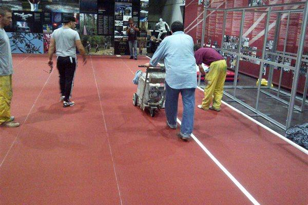 IAAF Centenary Historic Exhibition - the track lines are painted (Chris Turner / IAAF)