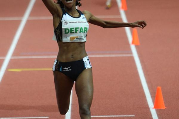 All smiles - Meseret Defar after her world best for two miles in Prague (Pavel Lebeda/Ceska Sportovni)