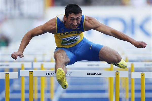 Over night leader Oleksiy Kasyanov of Ukraine competes in the men's Decathlon 110m Hurdles in Berlin (Getty Images)