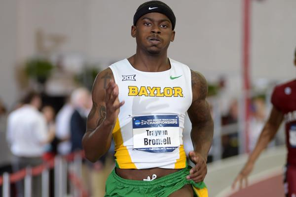 Trayvon Bromell at the 2015 NCAA Indoor Championships (Kirby Lee)