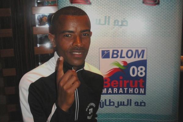 Alemayehu Shumye of Ethiopia on the eve of the Beirut Marathon (Pat Butcher)