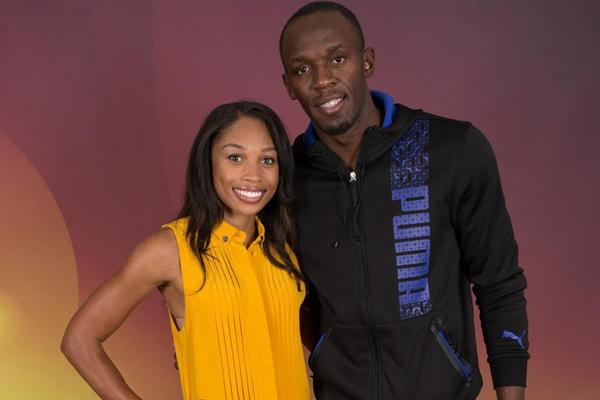 Allyson Felix and Usain Bolt meeting with the press in Barcelona (Philippe Fitte)