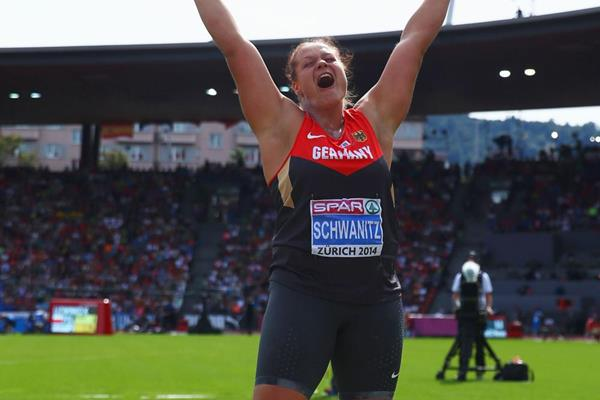 Christina Schwanitz celebrates winning the European shot put title (Getty Images)