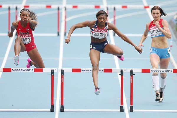Perri Shakes-Drayton wins her 400m Hurdles semi-final from 2011 World champion LaShinda Demus and 2012 Olympic champion Natalya Antyukh (Getty Images)