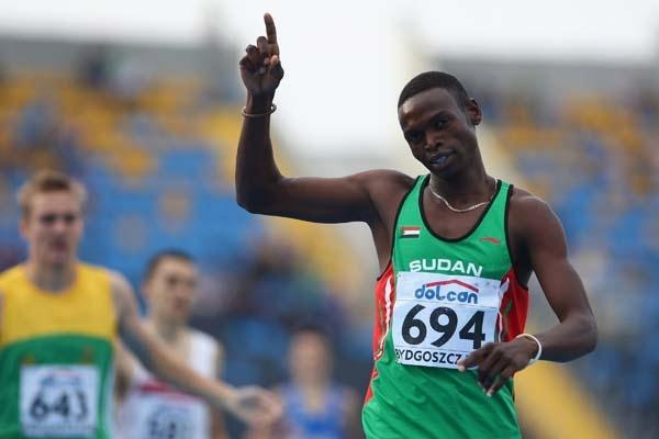 Abubaker Kaki of Sudan celebrates his gold medal in the Men's 800m (Getty Images)