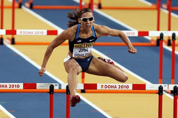 LoLo Jones of the USA begins the defence of her world indoor title in the heats of the 60m hurldes in Doha (Getty Images)