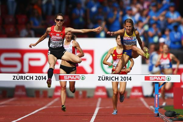 Antje Moldner-Schmidt kicks to gold in the 3000m steeplechase at the European Championships (Getty Images)