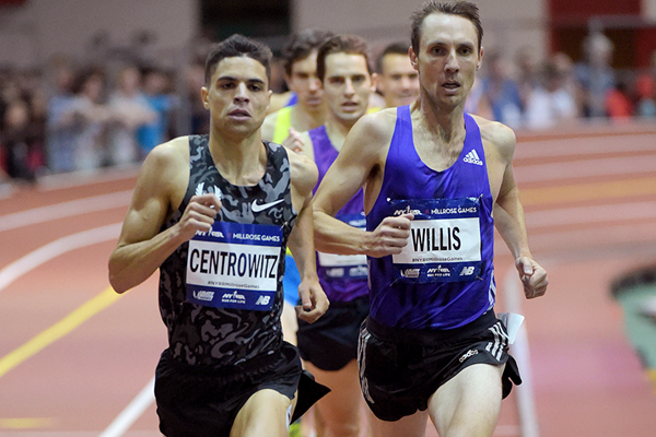 Matt Centrowitz and Nick Willis in the Wanamaker Mile at the 2016 Millrose Games (Kirby Lee)