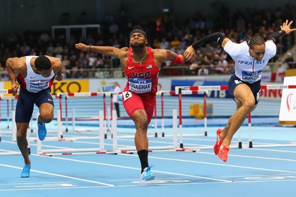 Omo Osaghae wins the 60m hurdles final at the 2014 IAAF World Indoor Championships in Sopot (Getty Images)
