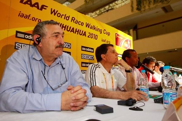 From left to right: Pierre Weiss, IAAF Council Member José Maria Odriozola and Miguel Angel Rodriguez Gallego, LOC President (Getty Images)