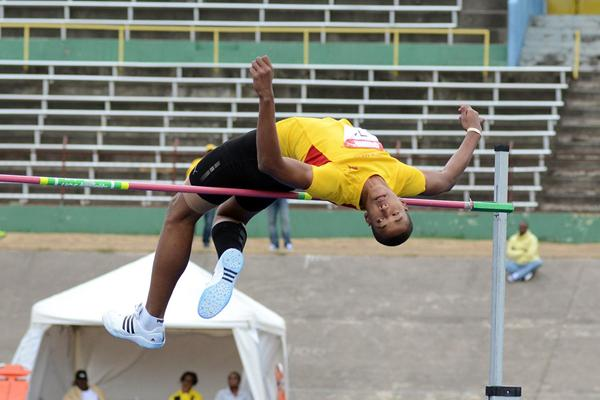 Christoff Bryan jumps 2.15m in the High Jump at the Carifta Games Trials (Anthony Foster)
