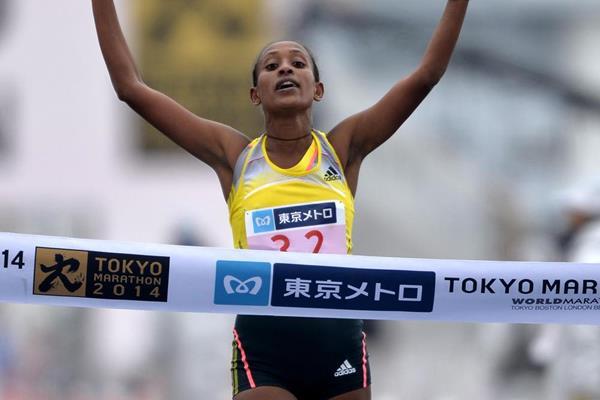 Tirfi Tsegaye, winner of the 2014 Tokyo Marathon (Tokyo Marathon Foundation)