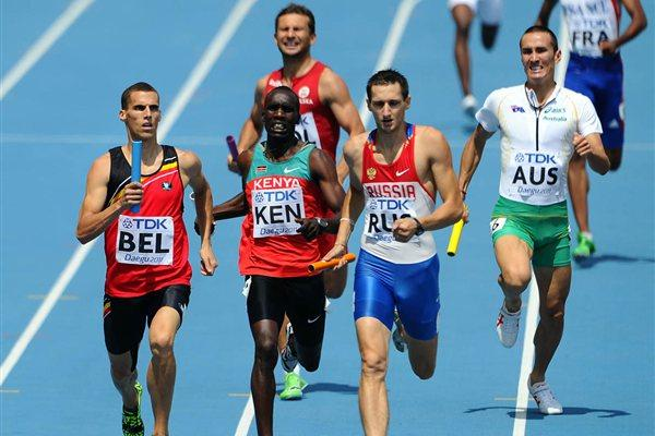 (L-R) Kevin Borlee of Belgium, Mark Kiprotich of Kenya, Denis Alekseyev of Russia and Sean Wroe of Australia compete in the men's 4x400 metres relay heats during day six (Getty Images)