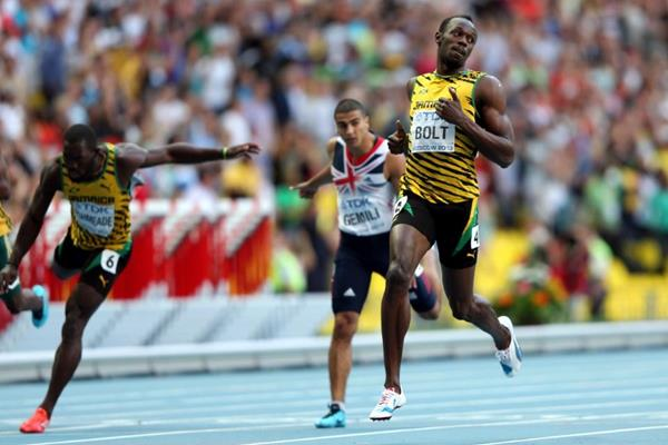 Usain Bolt, Nickel Ashmeade and Adam Gemili in the mens 200m at the IAAF World Athletics Championships Moscow 2013 (Getty Images)