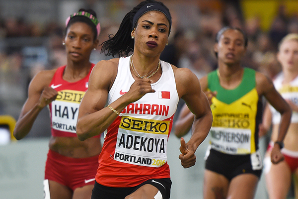 Kemi Adekoya in the 400m semifinals at the IAAF World Indoor Championships Portland 2016 (AFP / Getty Images)