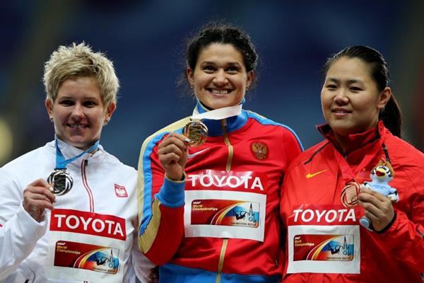Womens Hammer Throw Medal Ceremony at the IAAF World Athletics Championships Moscow 2013 (Getty Images)