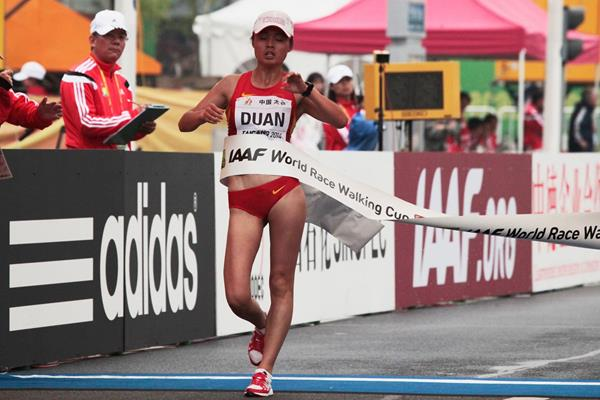 Duan Dandan wins the junior women's 10km at the 2014 IAAF World Race Walking Cup in Taicang (Getty Images)