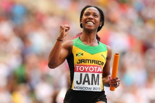 Shelly-Ann Fraser-Pryce in the womens 4x100m Relay at the IAAF World Athletics Championships Moscow 2013 (Getty Images)