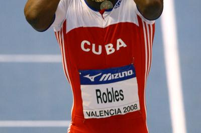 Shock exit: a disconsolate Dayron Robles after pulling up in the men's 60m hurdles heats (Getty Images)