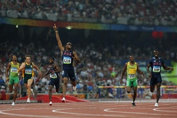 Angelo Taylor of the USA takes a surprise 400m hurdles victory in a time of 47.25 (Getty Images)