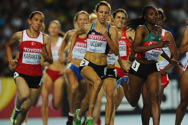 Morgan Uceny of United States and Hellen Obiri of Kenya compete in the women's 1500 metres semi final  (Getty Images)