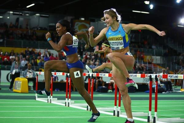 Tiffany Porter during the semi-finals of the women's 60m hurdles at the IAAF World Indoor Championships Portland 2016 (Getty Images)