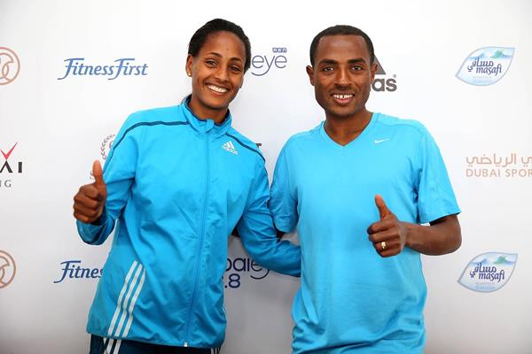 Aselefech Mergia and Kenenisa Bekele ahead of the 2015 Dubai Marathon (Giancarlo Colombo / organisers)
