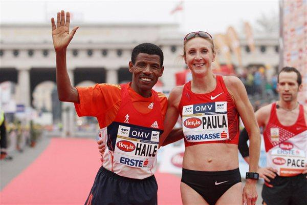 Haile and Paula after their 'chase race' half marathon in Vienna (Jean-Pierre Durand)