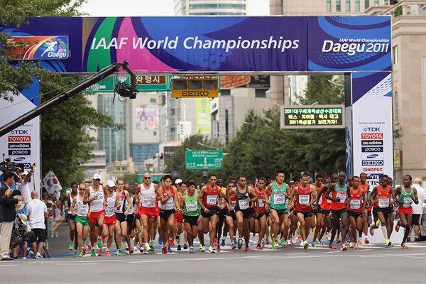 A general view of the start of the men's marathon in Daegu (Getty Images)