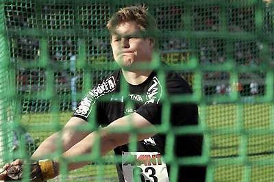 Olli-Pekka Karjalainen prepares to throw in Tampere (Paula Noronen)