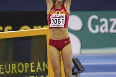 Surprise Triple Jump winner Carlota Castrejana celebrates in Birmingham (Getty Images)