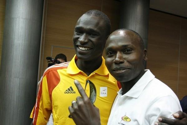 David Rudisha and Wilson Kipketer meet for the first time since Rudisha broke Kipketer's 800m World record - Split 2010 (Bob Ramsak)