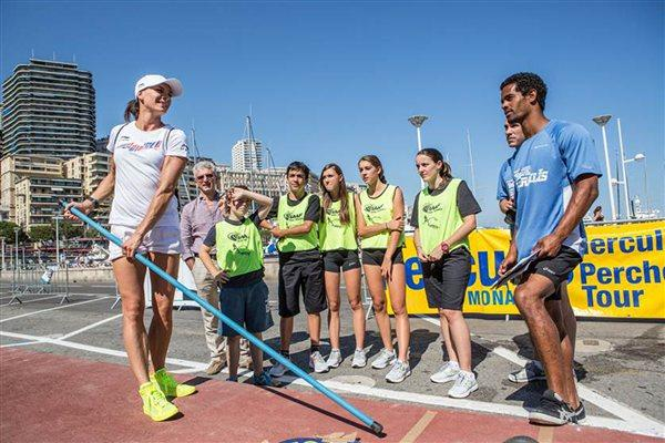 Yelena Isinbayeva attends the IAAF-Nestlé Kids' Athletics in Monaco leading up to the Herculis meeting (Philippe Fitte)