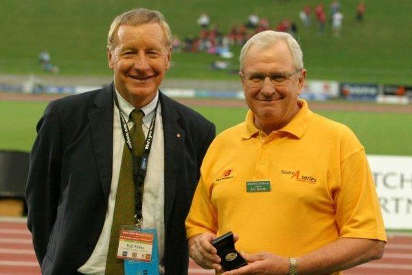 Reg Brandis (right), with Rob Fyldes, President of Athletics Australia  (IAAF)