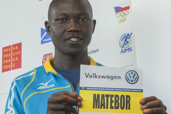 Albert Matebor ahead of the 2013 Volkswagen Prague Marathon (Organisers)