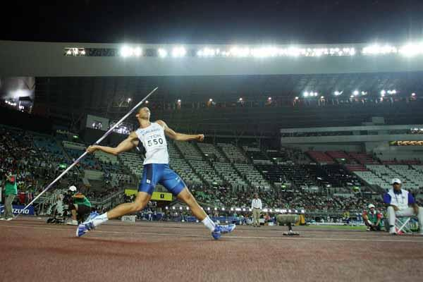 Tero Pitkamaki of Finland on his way to victory in the Javelin Throw Final (Getty Images)