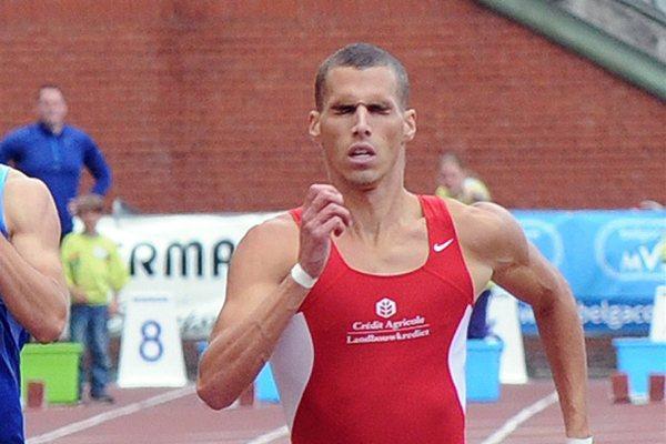 Kévin Borlée cruising to the Belgian 400m title in Brussels (Nadia Verhoft)
