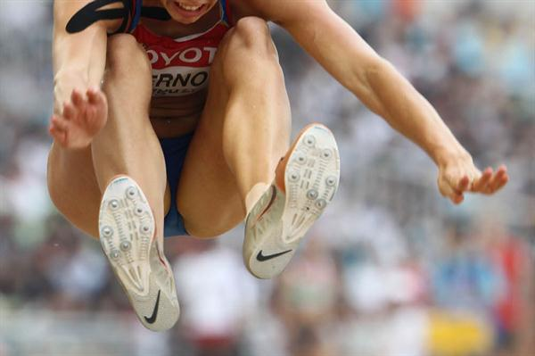 Tatyana Chernova of Russia in the Heptathlon Long Jump (Getty Images)