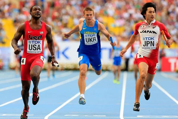 Justin Gatlin in the mens 4x100m Relay at the IAAF World Championships Moscow 2013 (Getty Images)