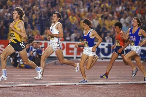 A classic! - John Walker, Steve Ovett, Jurgen Straub, Abderahmane Morceli and Steve Scott at the 1977 World Cup. Ovett won the race. (Getty Images)