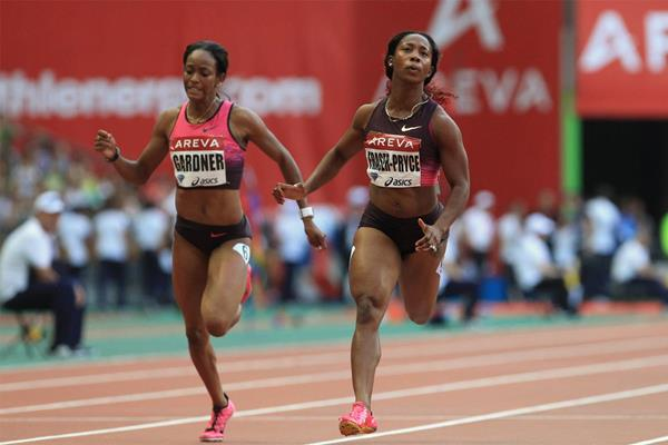 Shelly-Ann Fraser-Pryce wins the 100m at the 2013 Diamond League meeting in Paris (Jean-Pierre Durand)