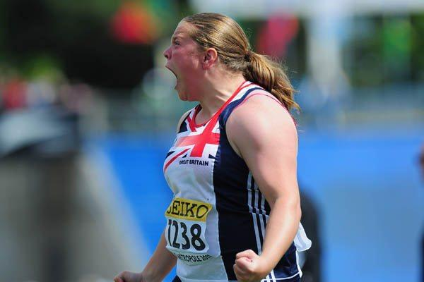Sophie McKinna of Great Britain celebrates qualifying for the World Youth Shot Put final in Lille (Getty Images)