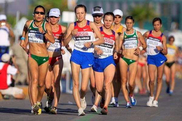 Vera Santos of Portugal leading the women's 20km in the early stages of the race (Getty Images)