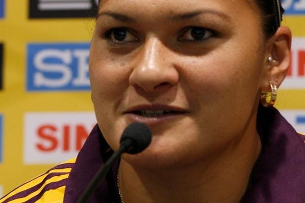 Valerie Adams at the pre-competition press conference in Split (Bob Ramsak)