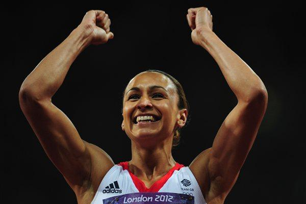 Jessica Ennis of Great Britain smiles after competing in the Women's Heptathlon 200m on Day 7 of the London 2012 Olympic Games at Olympic Stadium on August 3, 2012 (Getty Images)