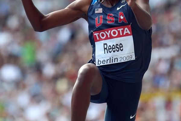 The USA's  Brittney Reese sets a World Leading mark of 7.10m in the women's Long Jump final in Berlin (Getty Images)