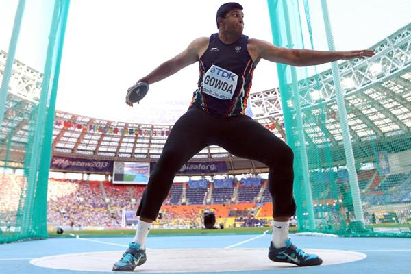 Vikas Gowda of India in the discus at the 2013 IAAF World Championships (Getty Images)