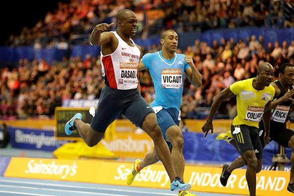 James Dasaolu winning the 60m at the 2014 Sainsbury's Indoor Grand Prix in Birmingham (Getty Images)