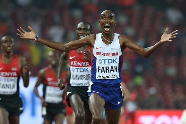 Mo Farah wins the 10,000m at the IAAF World Championships, Beijing 2015 (Getty Images)